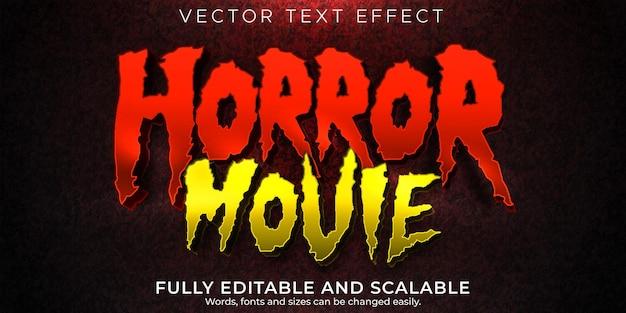 Bearbeitbarer texteffekt des horrorfilms tot und unheimlicher textstil