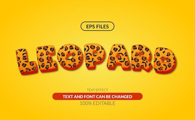 Bearbeitbarer texteffekt des leoparden 3d.