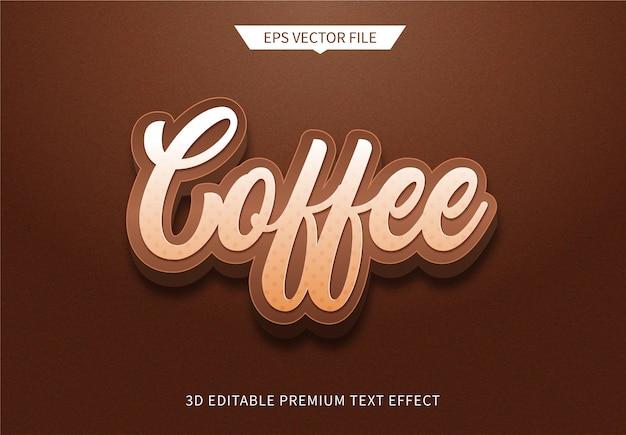 Bearbeitbarer texteffekt des modernen stils des kaffees 3d