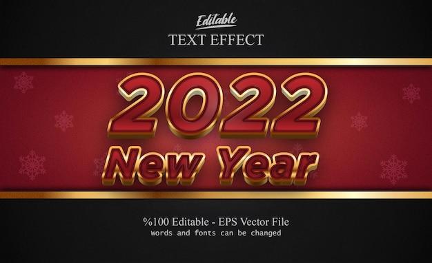 Bearbeitbarer texteffekt des neuen jahres 2022 mit ausgefallenem hintergrund