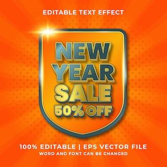 Bearbeitbarer texteffekt des neuen jahres 3d premium-vektor
