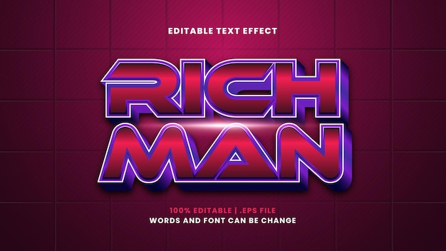 Bearbeitbarer texteffekt des reichen mannes im modernen 3d-stil