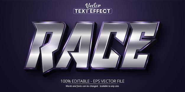 Bearbeitbarer texteffekt des renntextes im glänzenden silbernen farbstil Premium Vektoren