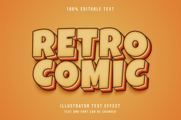 Bearbeitbarer texteffekt des retro-comics mit cremeabstufung