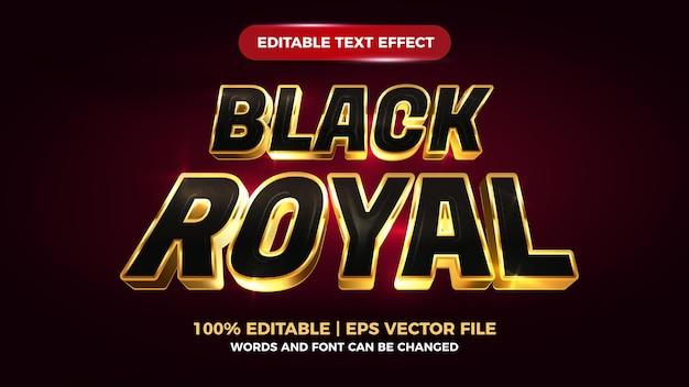 Bearbeitbarer texteffekt des schwarzen königlichen luxusgoldes