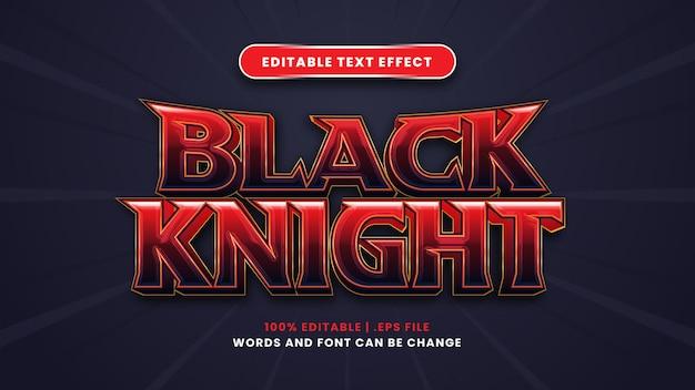 Bearbeitbarer texteffekt des schwarzen ritters im modernen 3d-stil