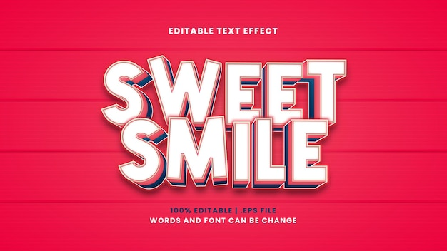 Bearbeitbarer texteffekt des süßen lächelns im modernen 3d-stil