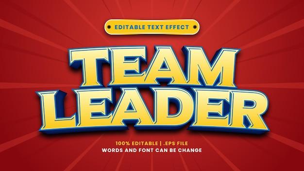 Bearbeitbarer texteffekt des teamleiters im modernen 3d-stil
