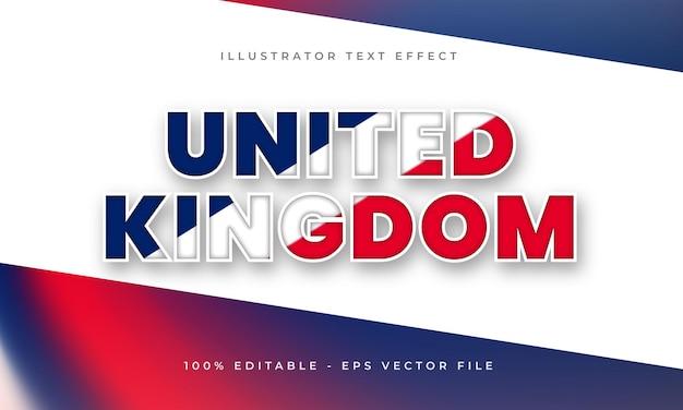Bearbeitbarer texteffekt des vereinigten königreichs mit britischer flaggentextur