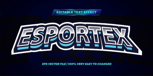 Bearbeitbarer texteffekt - farbe des blauen himmels im esportex-textstil