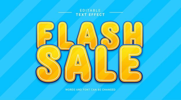 Bearbeitbarer texteffekt flash-verkauf gelber farbverlauf blaue farbe fetter moderner stil
