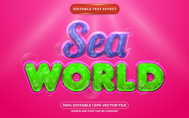 Bearbeitbarer texteffekt-flüssigkeitsstil der meereswelt