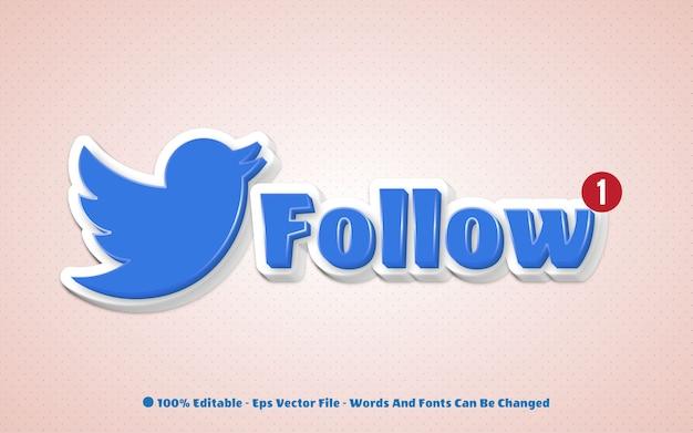 Bearbeitbarer texteffekt folgen sie den abbildungen im twitter-symbolstil
