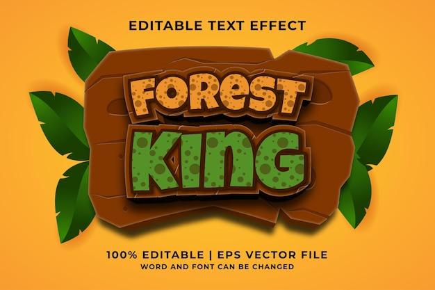 Bearbeitbarer texteffekt - forest king 3d-vorlagenstil premium-vektor