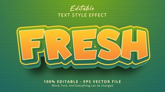 Bearbeitbarer texteffekt, frischer text auf cartoon-stil-effekt