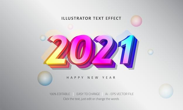 Bearbeitbarer texteffekt frohes neues jahr premium vector
