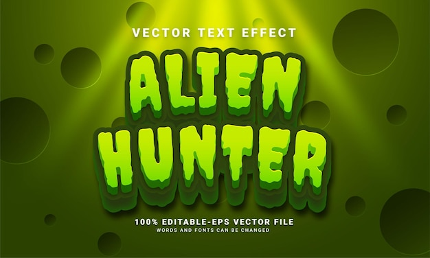 Bearbeitbarer texteffekt für alien-jäger, der für das thema weltraumabenteuer geeignet ist