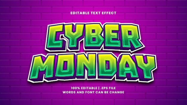 Bearbeitbarer texteffekt für cyber monday im modernen 3d-stil