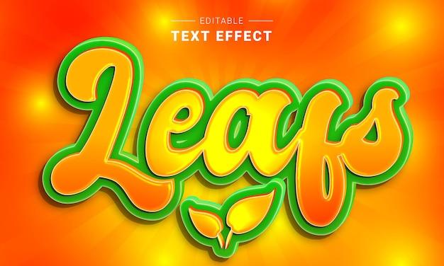 Bearbeitbarer texteffekt für den textstil illustrator leafs