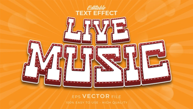 Bearbeitbarer texteffekt für live-musik