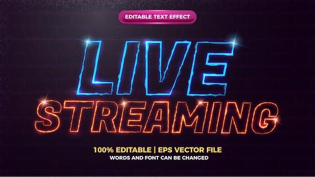Bearbeitbarer texteffekt für live-streaming mit elektrischer welle