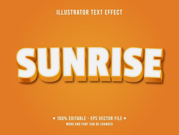 Bearbeitbarer texteffekt für orangefarbenen sonnenaufgang