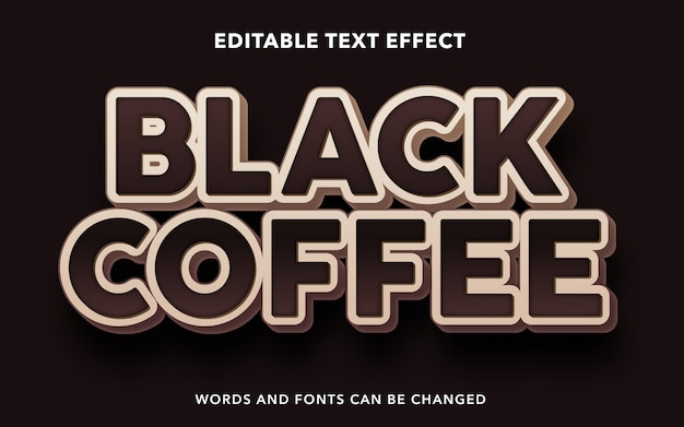 Bearbeitbarer texteffekt für schwarzen kaffeetextstil