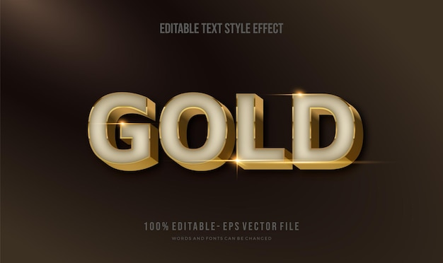 Bearbeitbarer texteffekt glänzendes chrom und gold. textstil-effekt. bearbeitbare schriftarten-vektordateien
