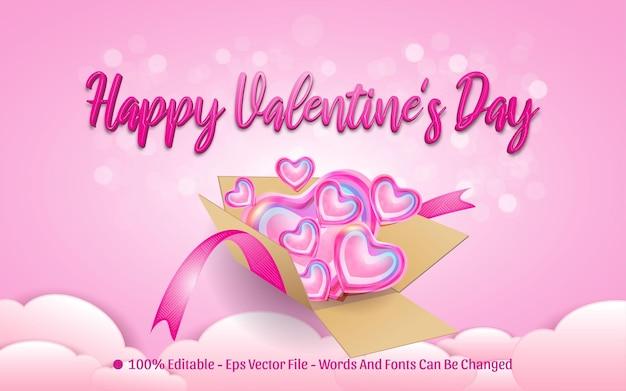 Bearbeitbarer texteffekt, glücklicher valentinstag