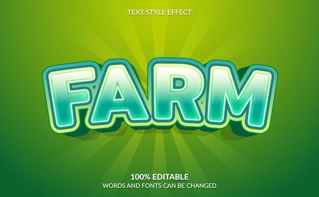 Bearbeitbarer texteffekt, grüner farmtextstil