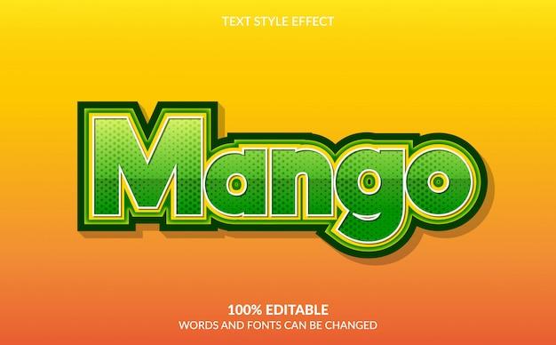 Bearbeitbarer texteffekt, grüner mango-textstil