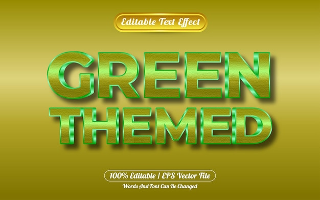 Bearbeitbarer texteffekt grüner stil im goldstil
