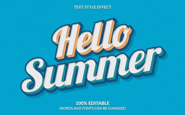Bearbeitbarer texteffekt, hallo sommer-textstil