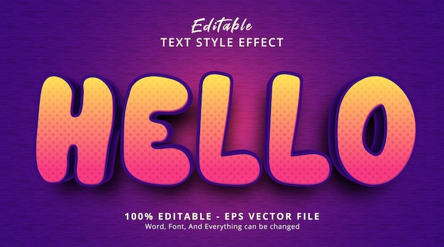 Bearbeitbarer texteffekt, hallo text im violetten farbkombinationsstil