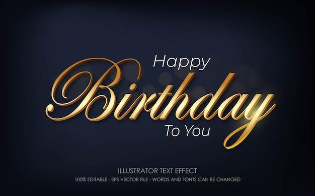 Bearbeitbarer texteffekt, happy birthday to you-stilillustrationen