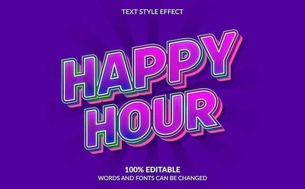 Bearbeitbarer texteffekt, happy hour-textstil
