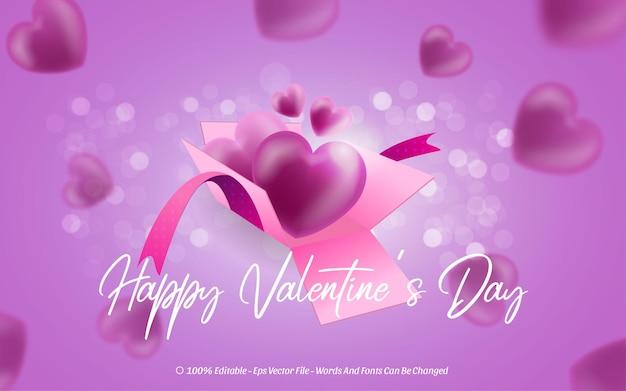 Bearbeitbarer texteffekt, happy valentine's day