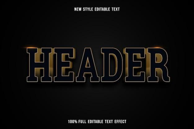 Bearbeitbarer texteffekt-header in schwarz und gold
