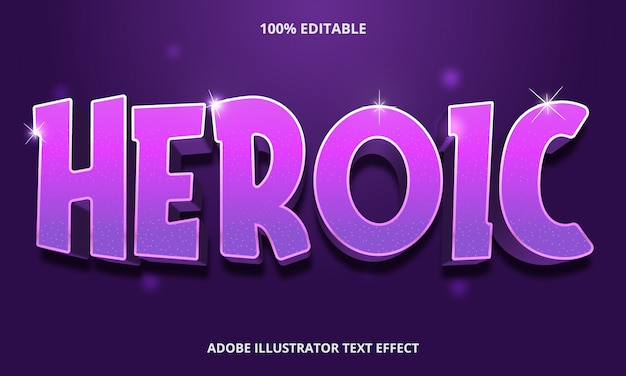 Bearbeitbarer texteffekt - heroisches lila mit texturstil