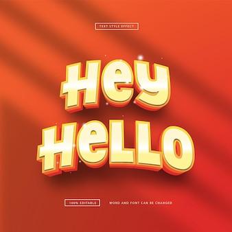 Bearbeitbarer texteffekt hey hello style premium vector