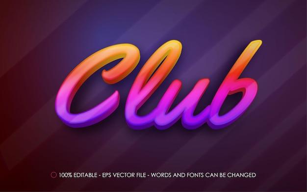 Bearbeitbarer texteffekt, illustrationen im club neon-farbverlauf