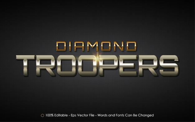 Bearbeitbarer texteffekt, illustrationen im diamond troopers-stil