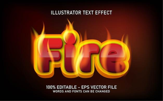 Bearbeitbarer texteffekt, illustrationen im feuerstil