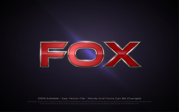 Bearbeitbarer texteffekt, illustrationen im fox-stil