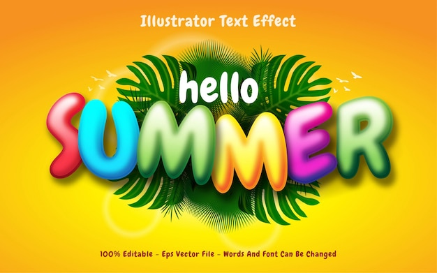 Bearbeitbarer texteffekt, illustrationen im hello summer-stil