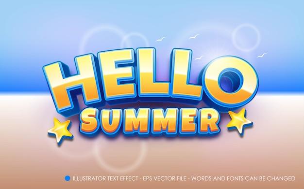 Bearbeitbarer texteffekt, illustrationen im hello summer-stil