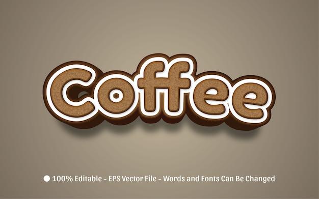 Bearbeitbarer texteffekt illustrationen im kaffeestil