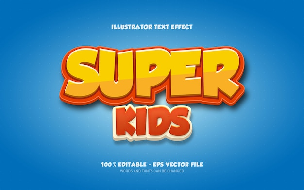Bearbeitbarer texteffekt, illustrationen im super kids-stil