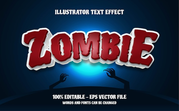 Bearbeitbarer texteffekt, illustrationen im zombie-stil