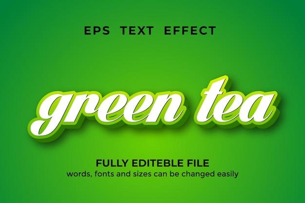 Bearbeitbarer texteffekt im 3d-stil des grünen tees premium-vektoren